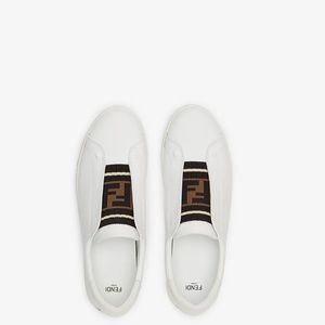 Fendi white leather slip on sneakers